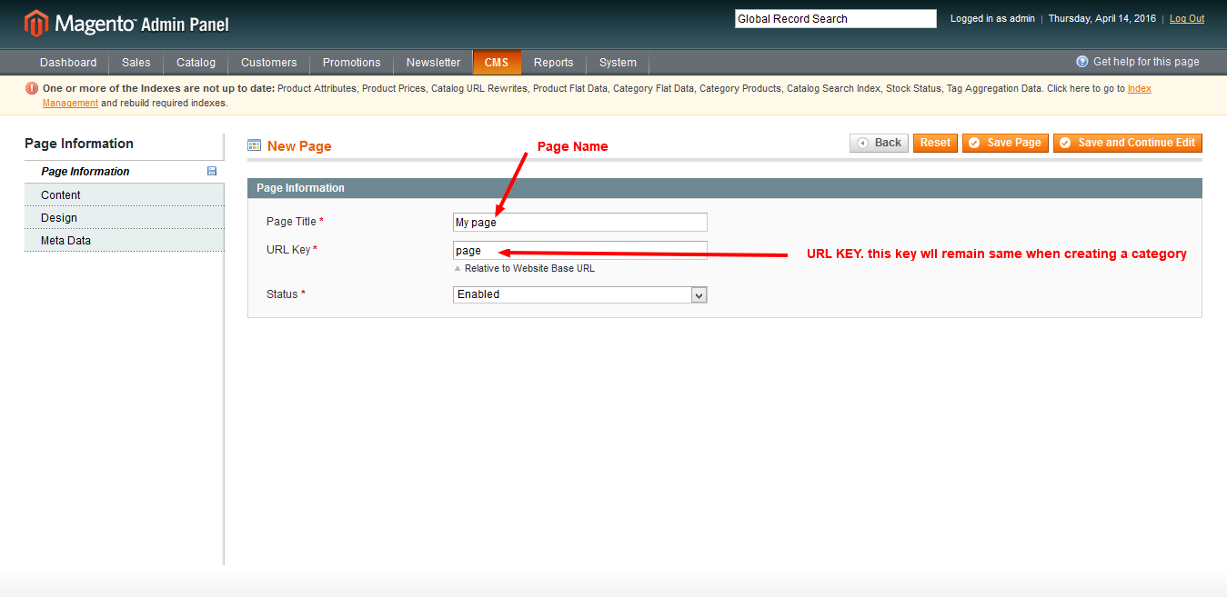 how to display a page in the categories default menu magento ??