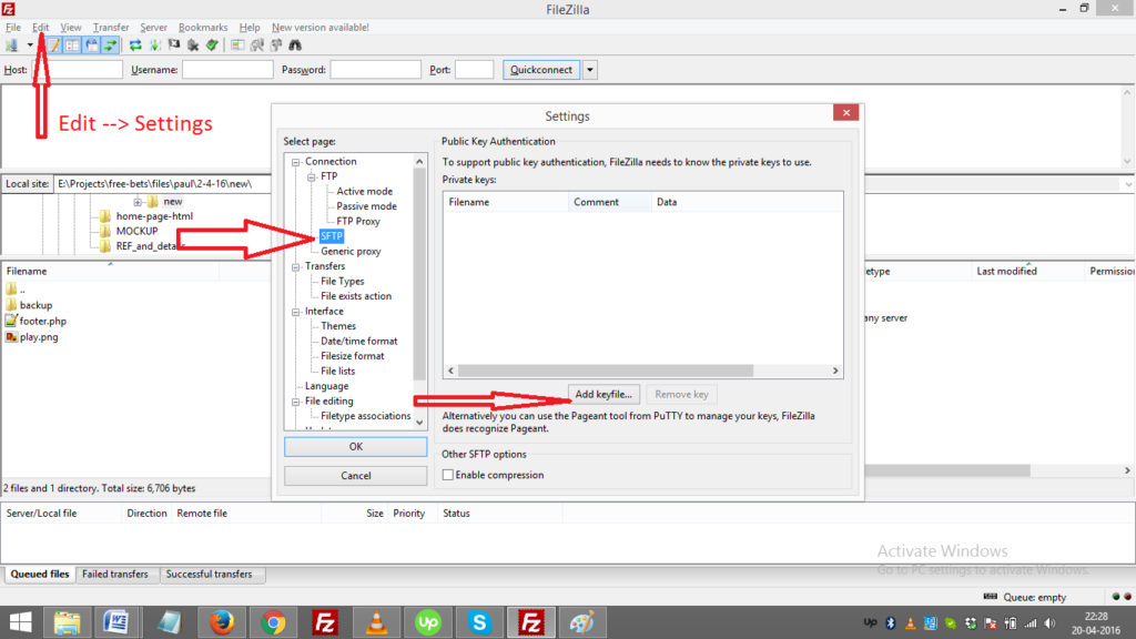How to use .xml and ppk file to connect with FTP (File Transfer Protocol)?